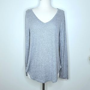 BKE   NWT Ribbed Silver V-Neck Sweater